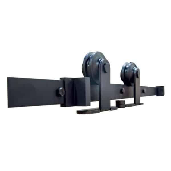 Kit noir pour porte coulissante en applique bois eurowale - Kit porte coulissante en applique ...